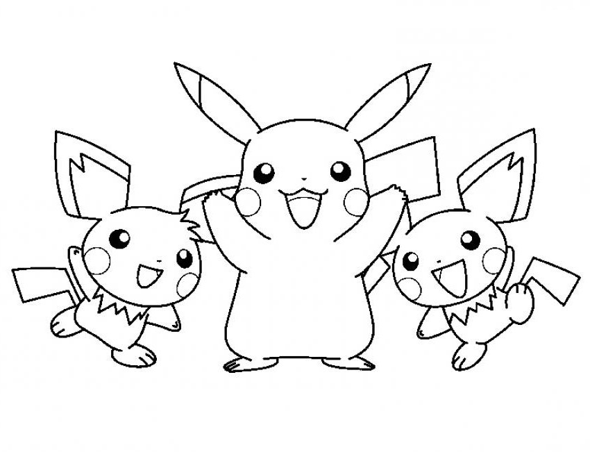 Pikachu Coloring Pages for Kids/ Children to print & Color PDF Download